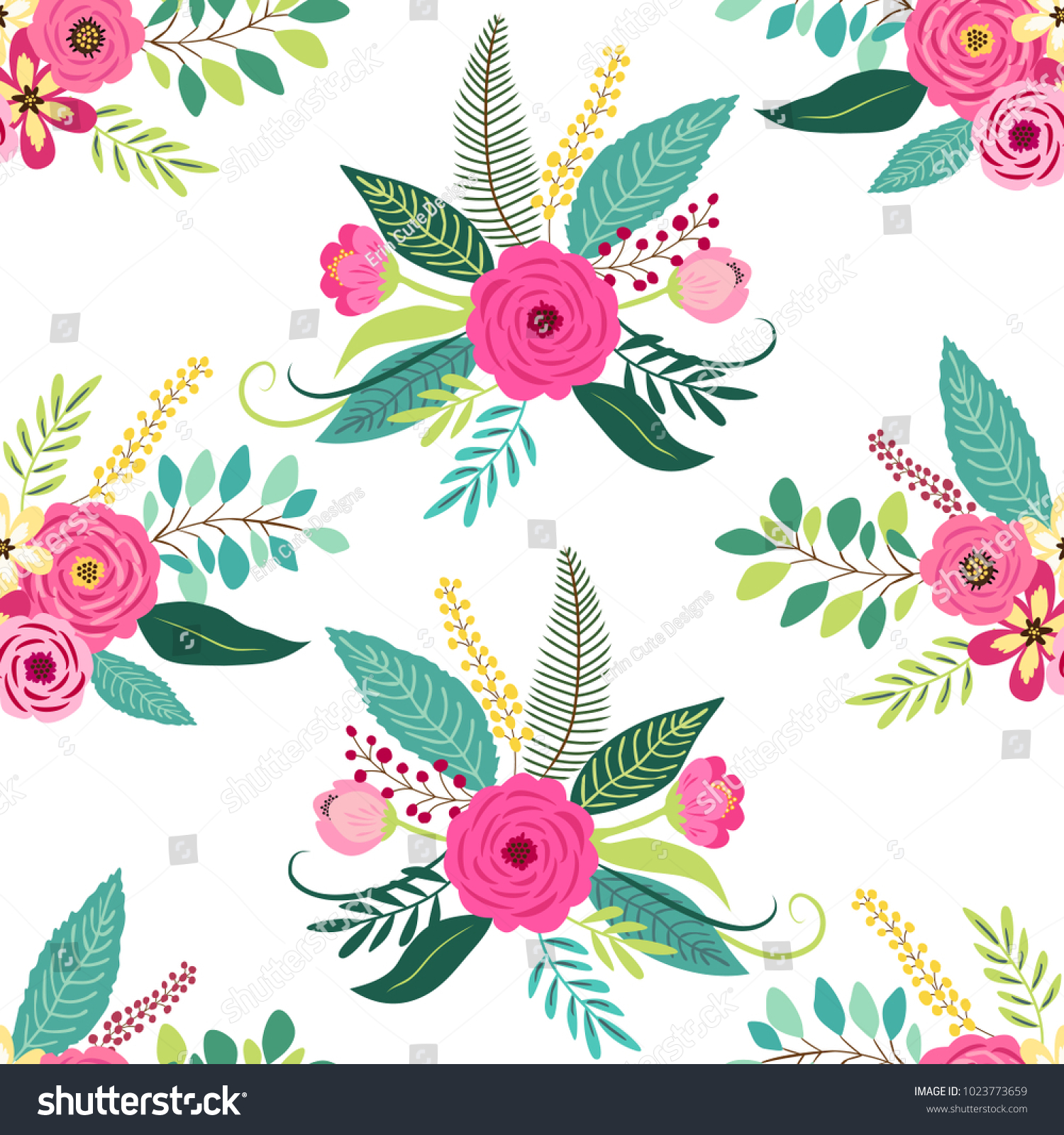 Cute Seamless Pattern With Vintage Elements As Rustic Hand Drawn