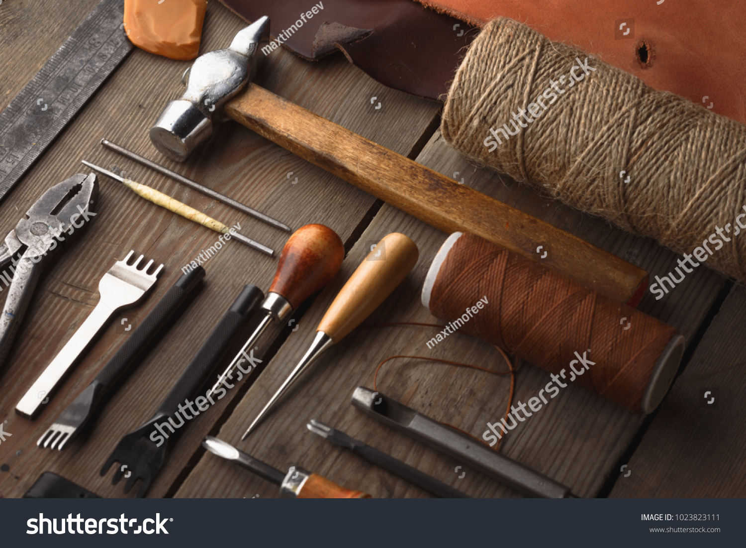 Set Leather Craft Tools On Wooden Stock Photo Edit Now 1023823111