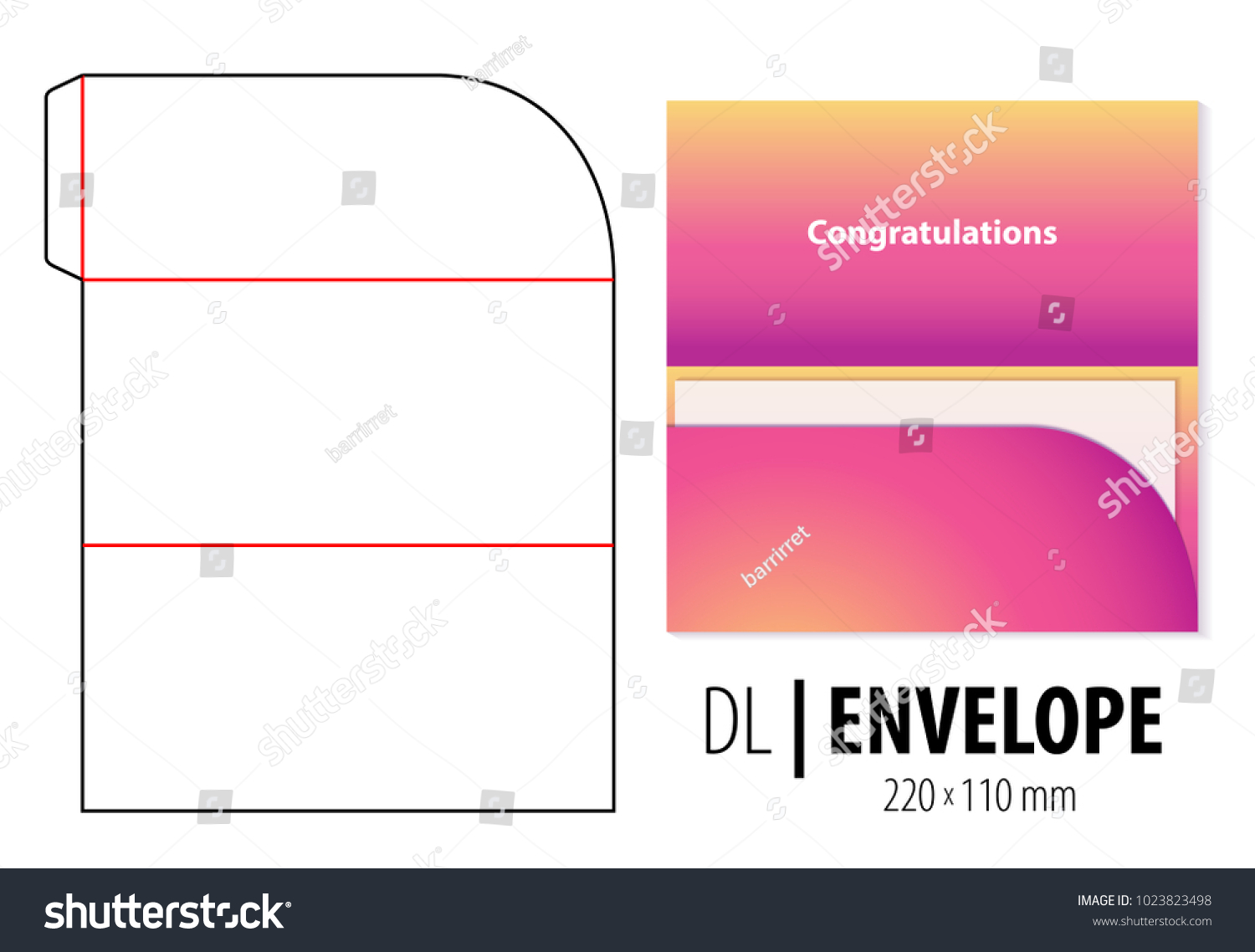 Gift greeting card envelope die cut em vetor stock 1023823498 gift greeting card envelope die cut stamp empty dl size shablon blank template stopboris Image collections