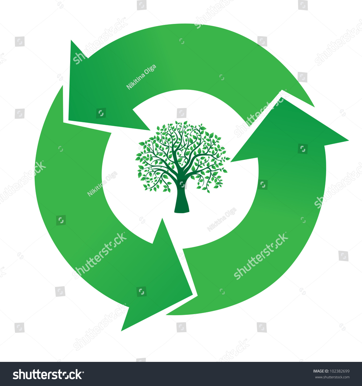 Concept Tree Recycling Symbol Stock Vector Royalty Free 102382699