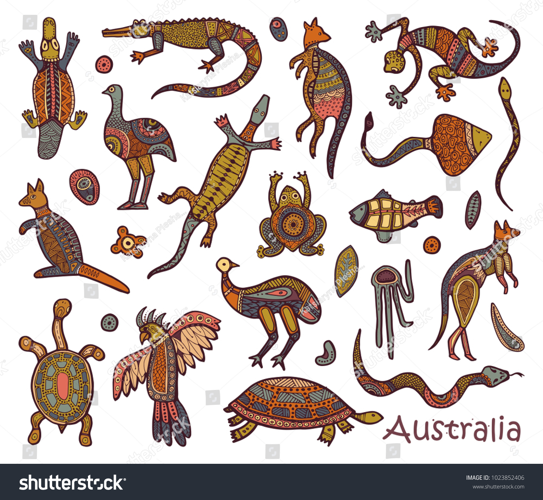 Animals Australia Sketches Style Australian Aborigines Stock ...