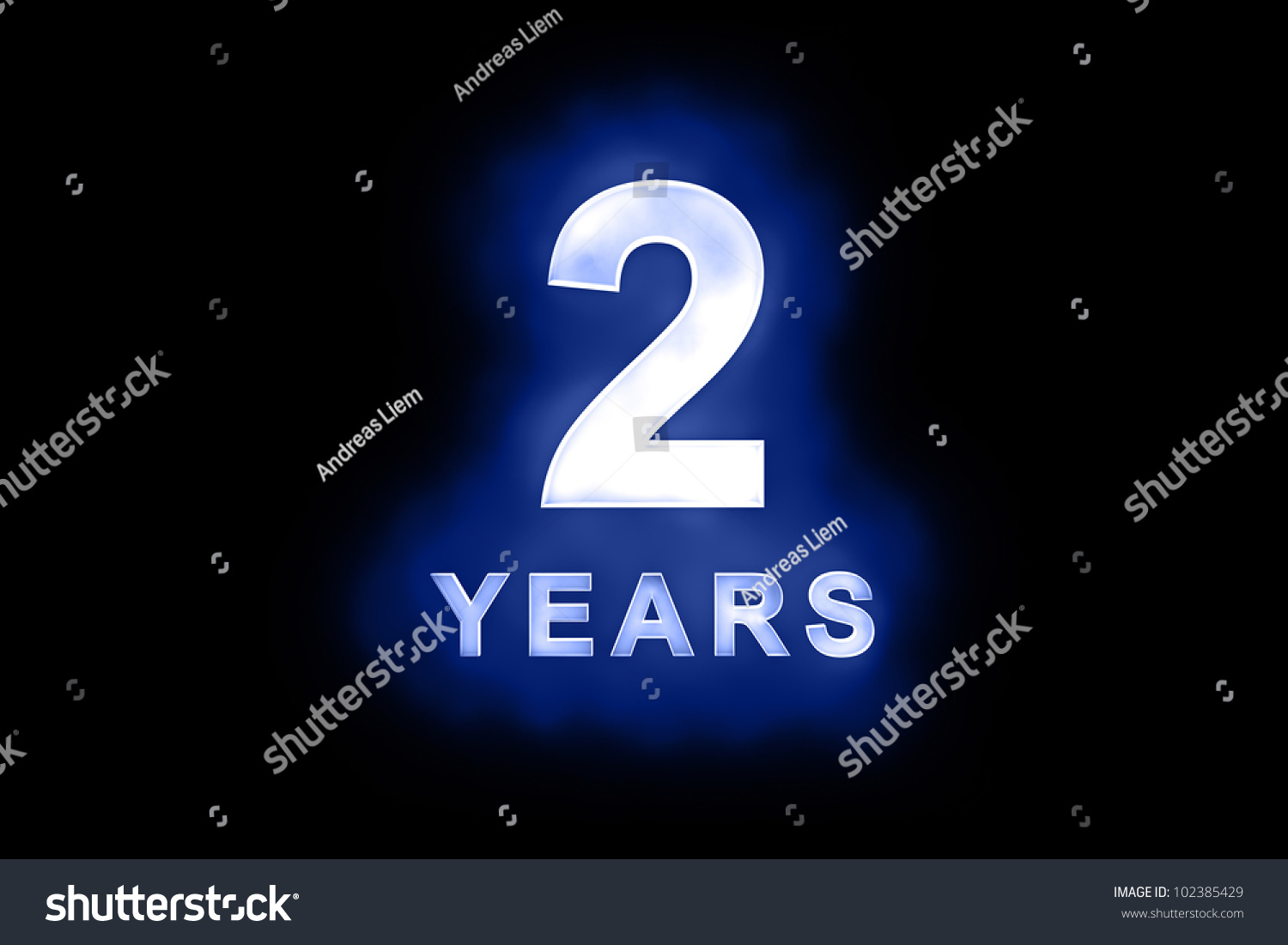 Royalty Free Stock Illustration of 2 Years Glowing White