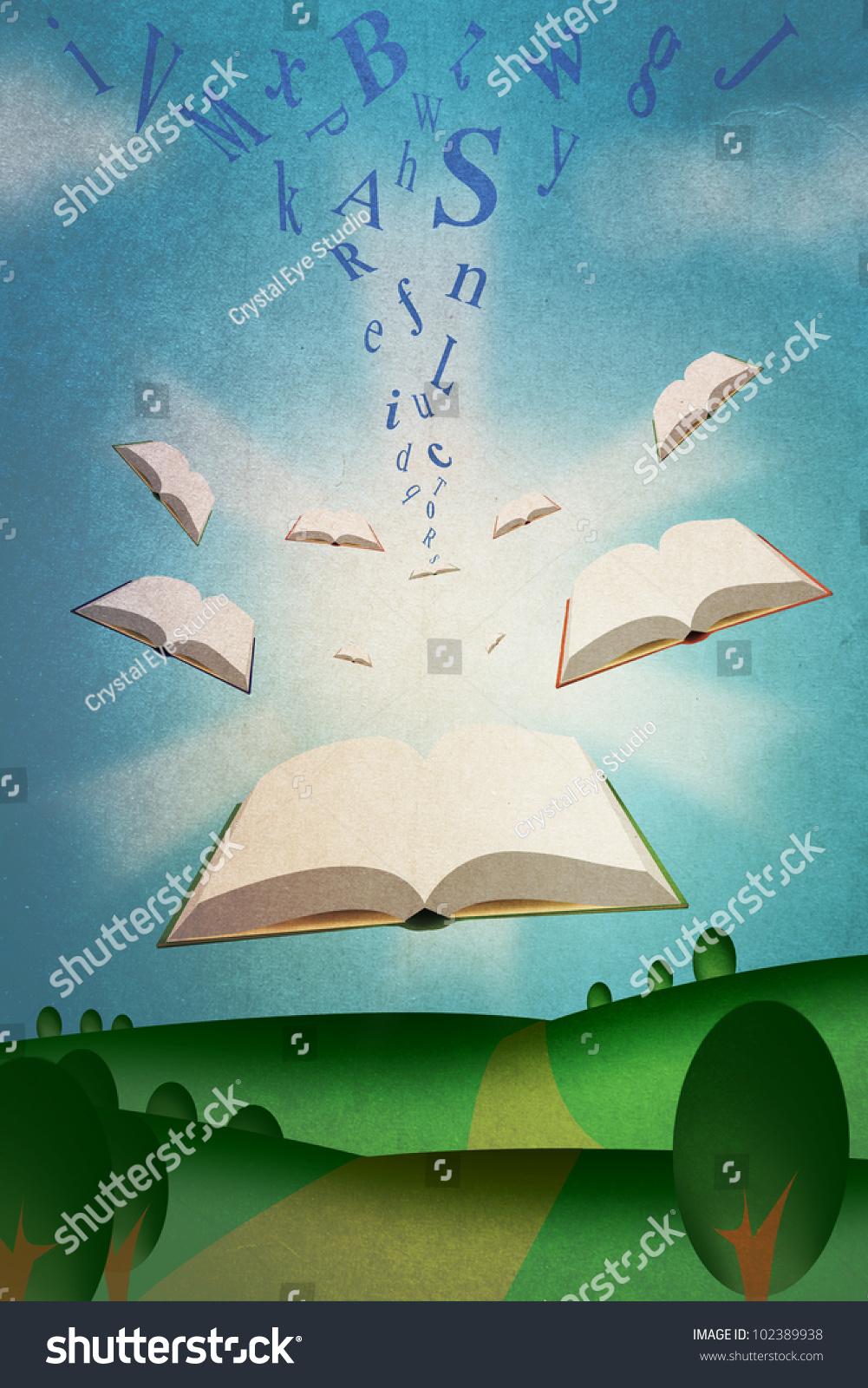 Flying Books Illustration Roman Alphabet Texts Stock Illustration ...