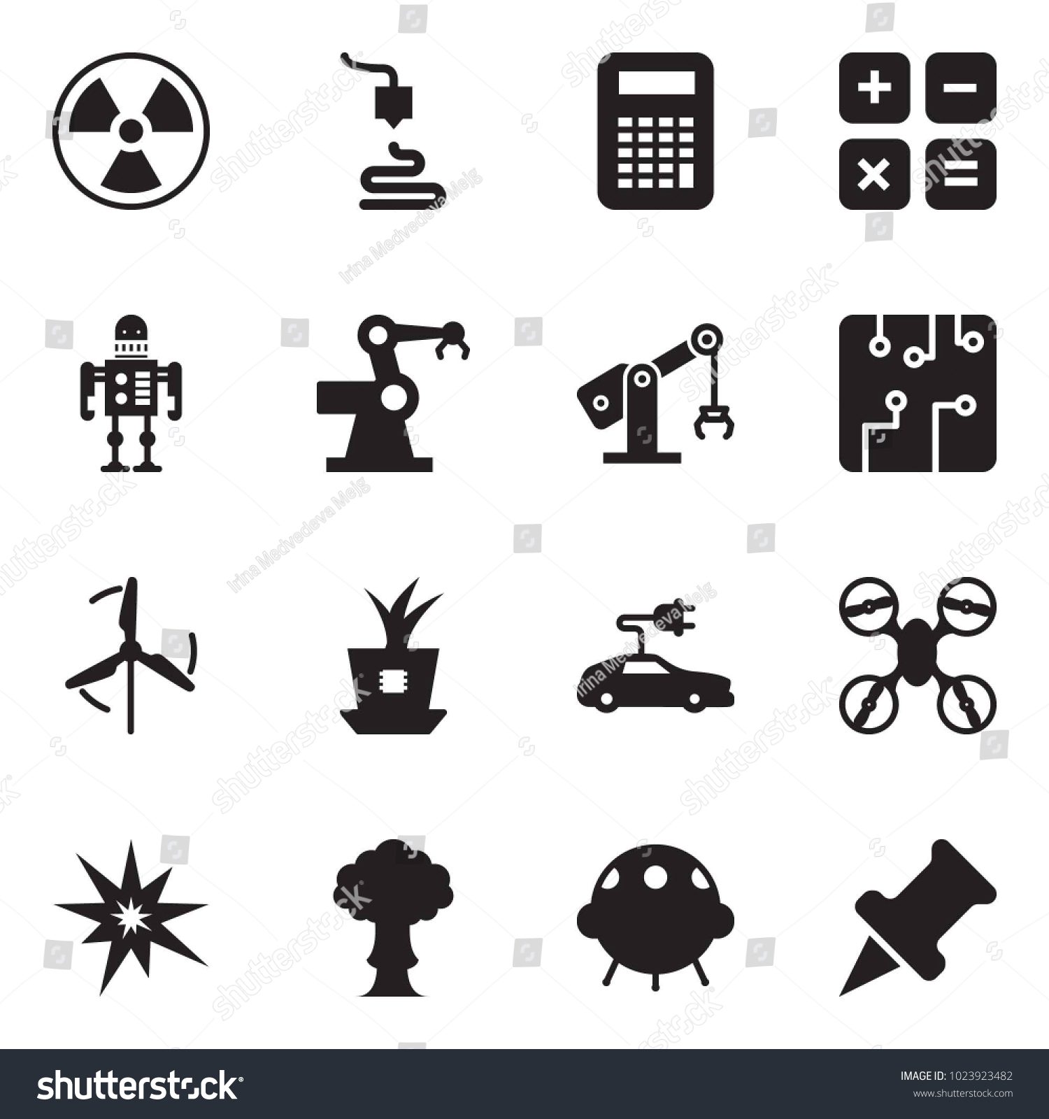 Solid Black Vector Icon Set Nuclear Stock Royalty Free Circuitry Of An Electronic Calculator Photography 3d Printer Robot