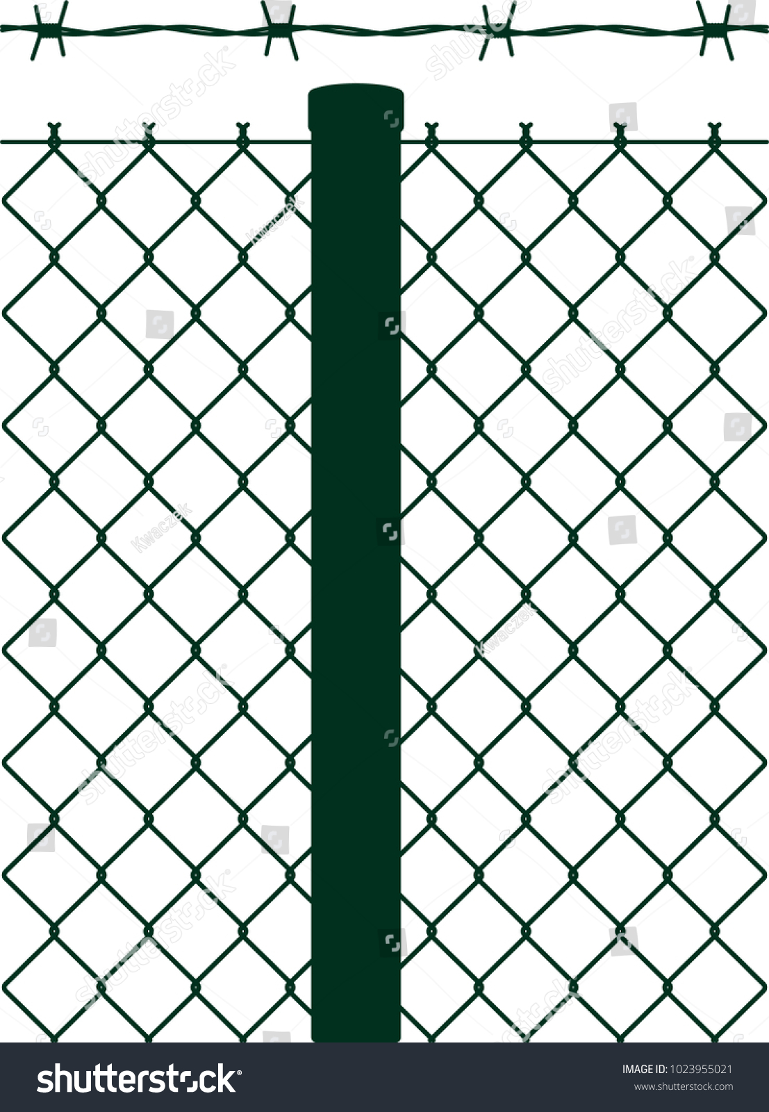 Dark Green Vector Fence Barbed Wire Stock Photo (Photo, Vector ...