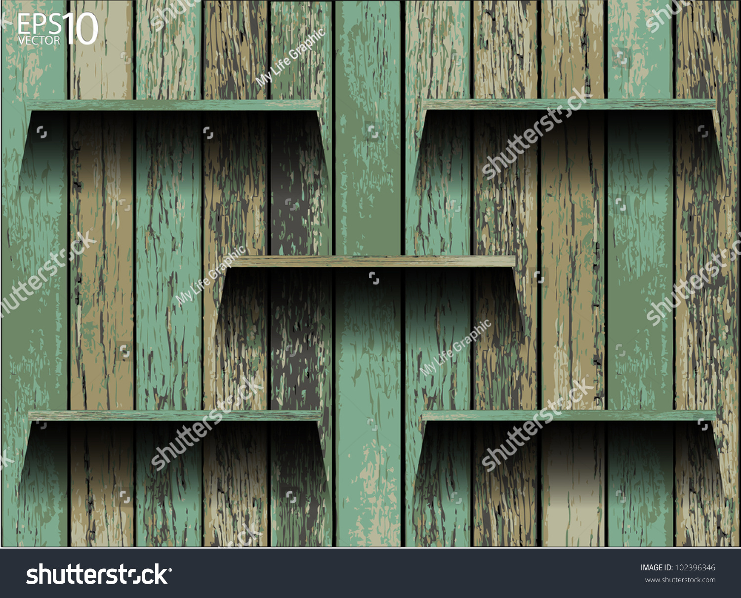 Interior wooden shelves free vector - Save To A Lightbox