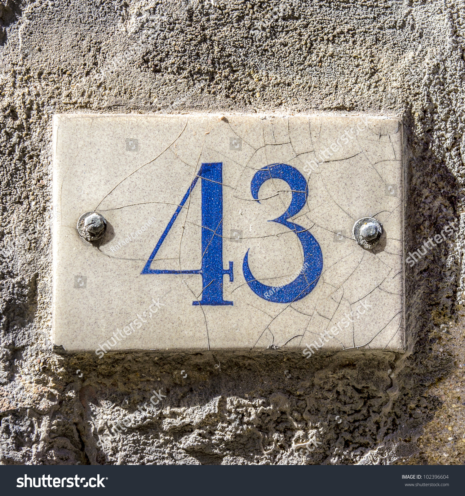 House Number Fortythree Ceramic Tile Stock