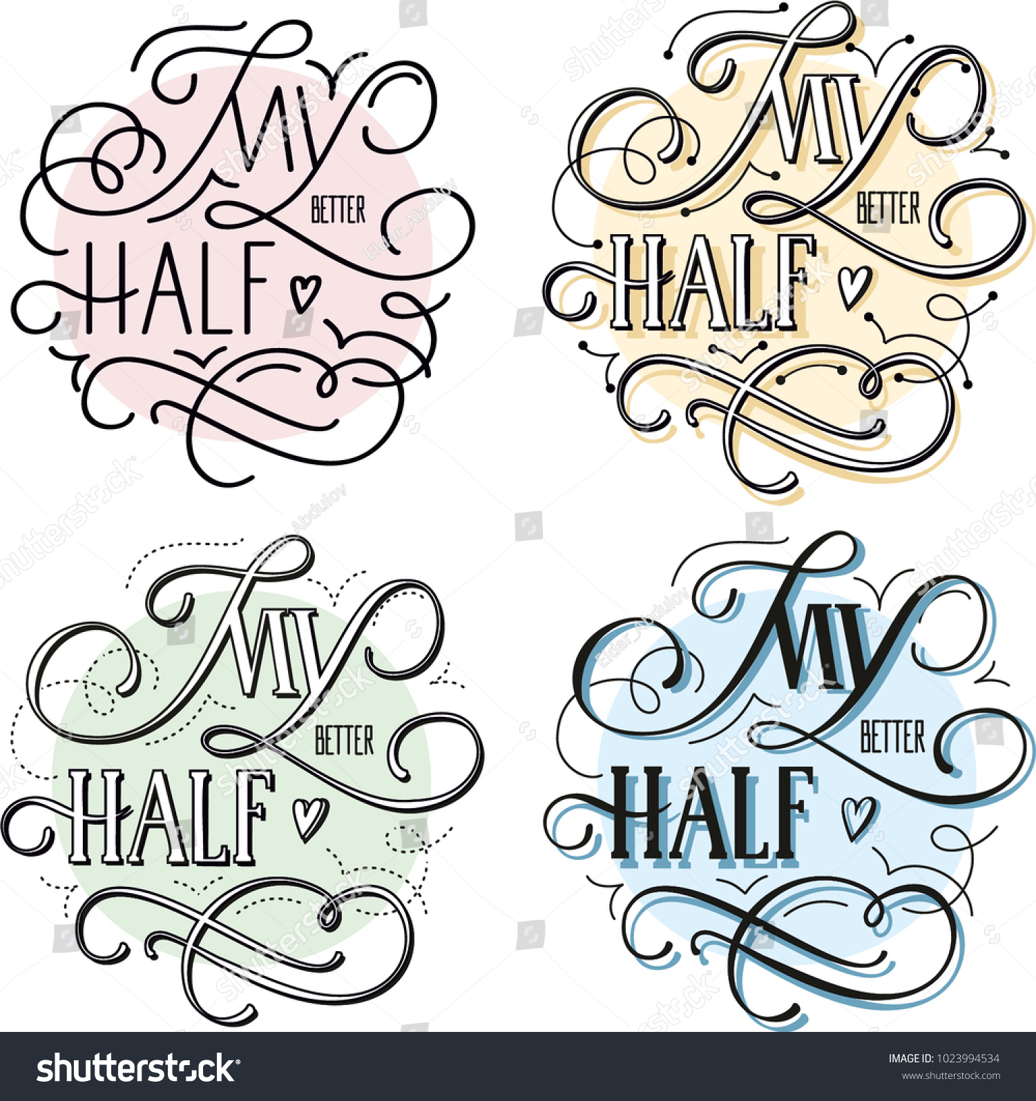 my better half happy valentines day card with calligraphy text vector illustration set