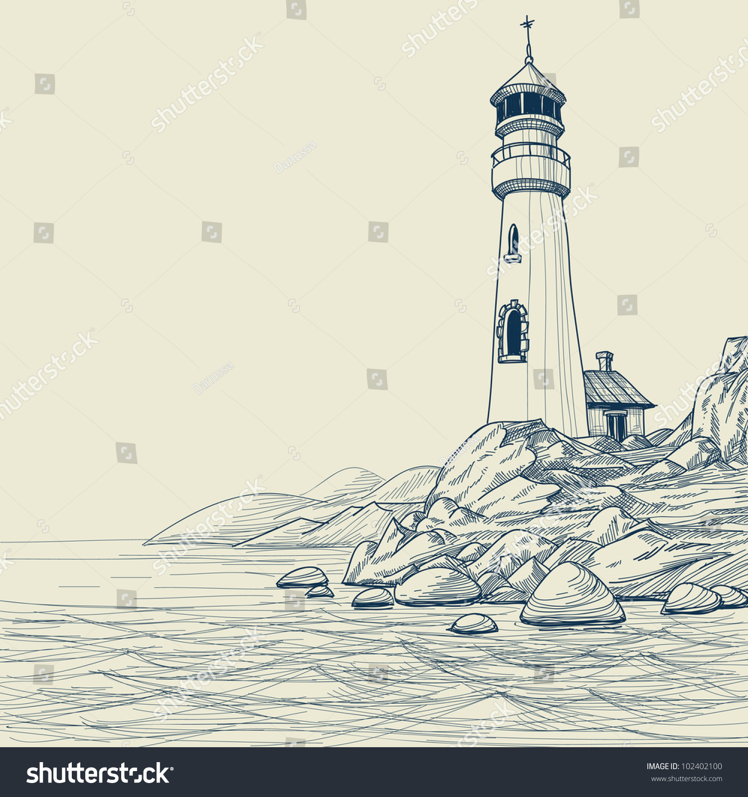 lighthouse on seashore vector sketch stock vector water waves images clip art water waves clip art pictures