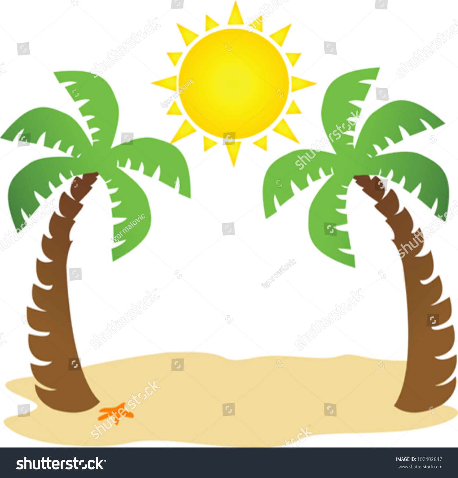 illustration two palm trees sun space stock vector 2018 102402847 rh shutterstock com  clipart palm trees sun