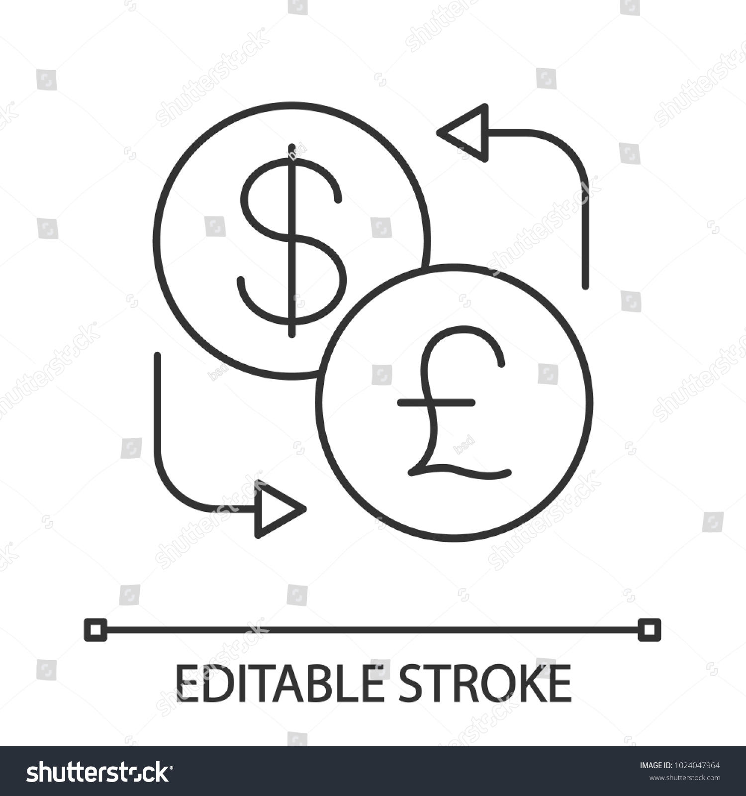Dollar british pound currency exchange linear stock vector dollar and british pound currency exchange linear icon thin line illustration refund contour biocorpaavc Images