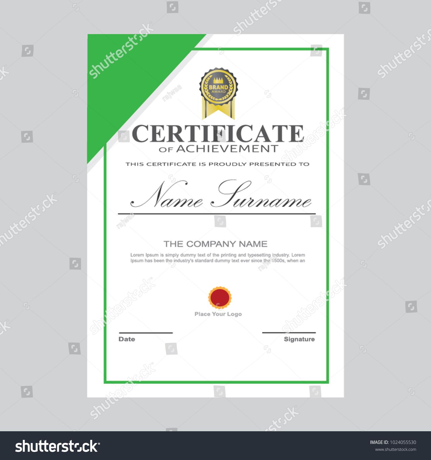 Certificate Template Modern A 4 Horizontal Landscape Stock Vector