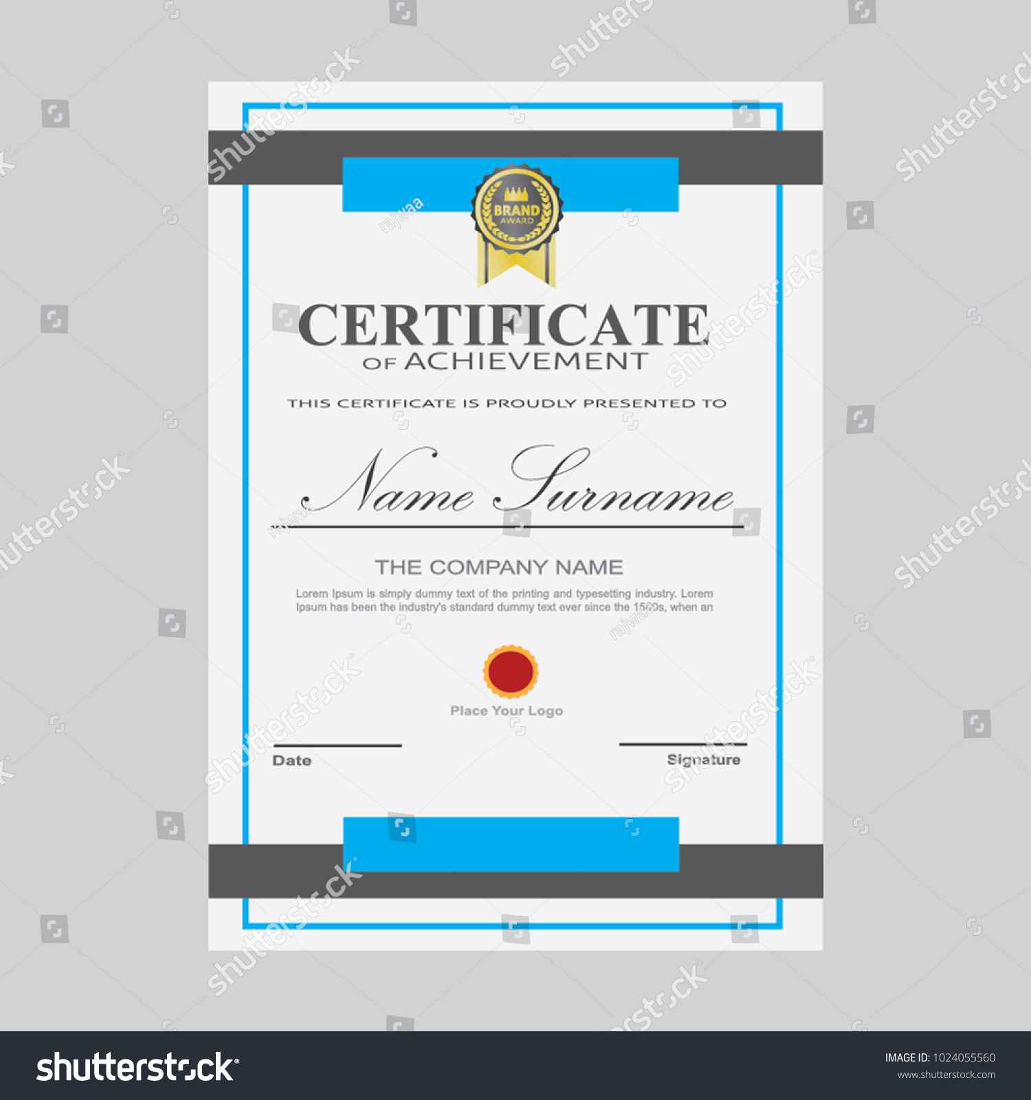 Certificate template modern a4 horizontal landscape stock vector certificate template modern a4 horizontal landscape design award elegant vector background business graduation achievement yadclub