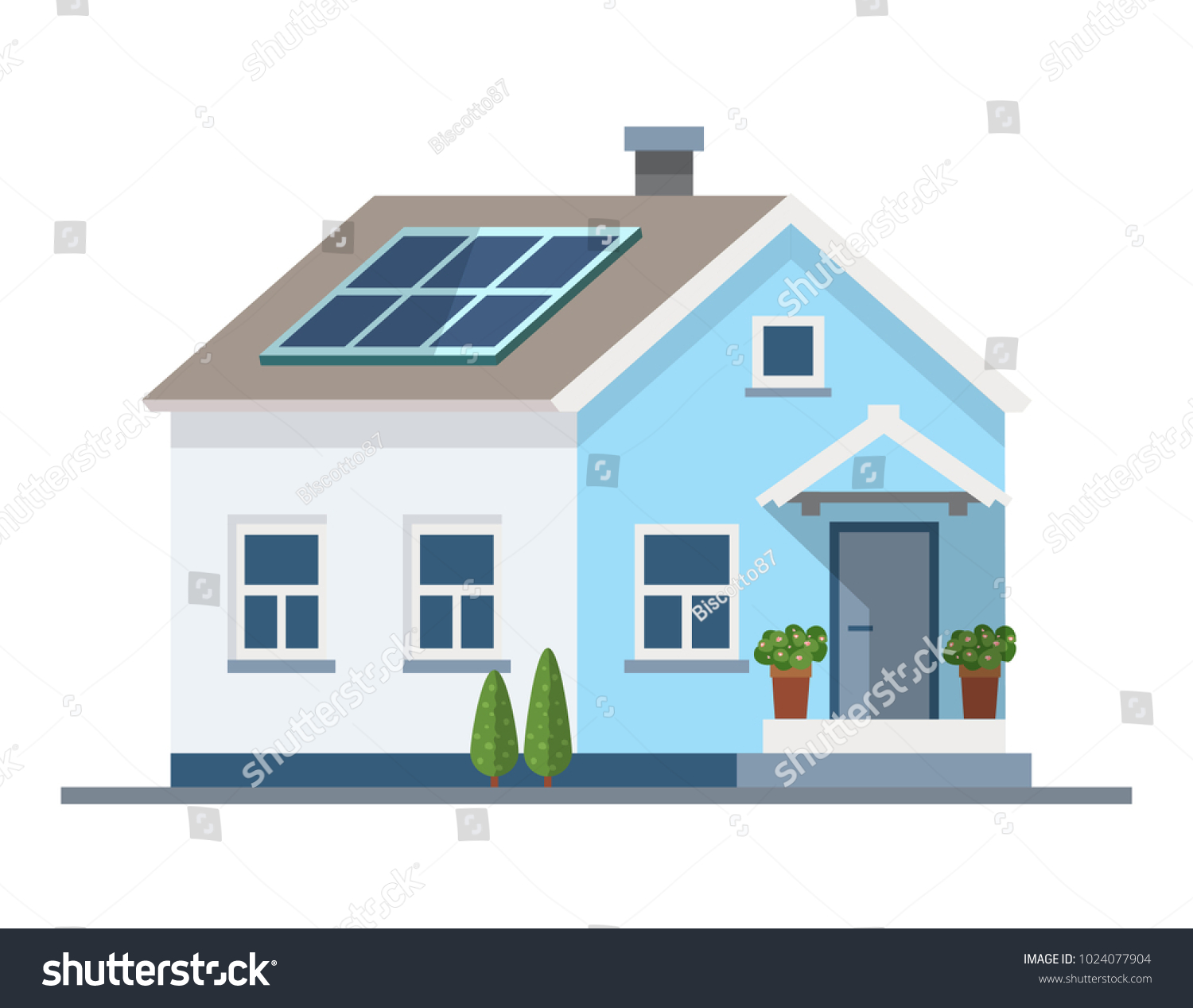 Small house with solar panels on the roof green energy ecology vector illustration in