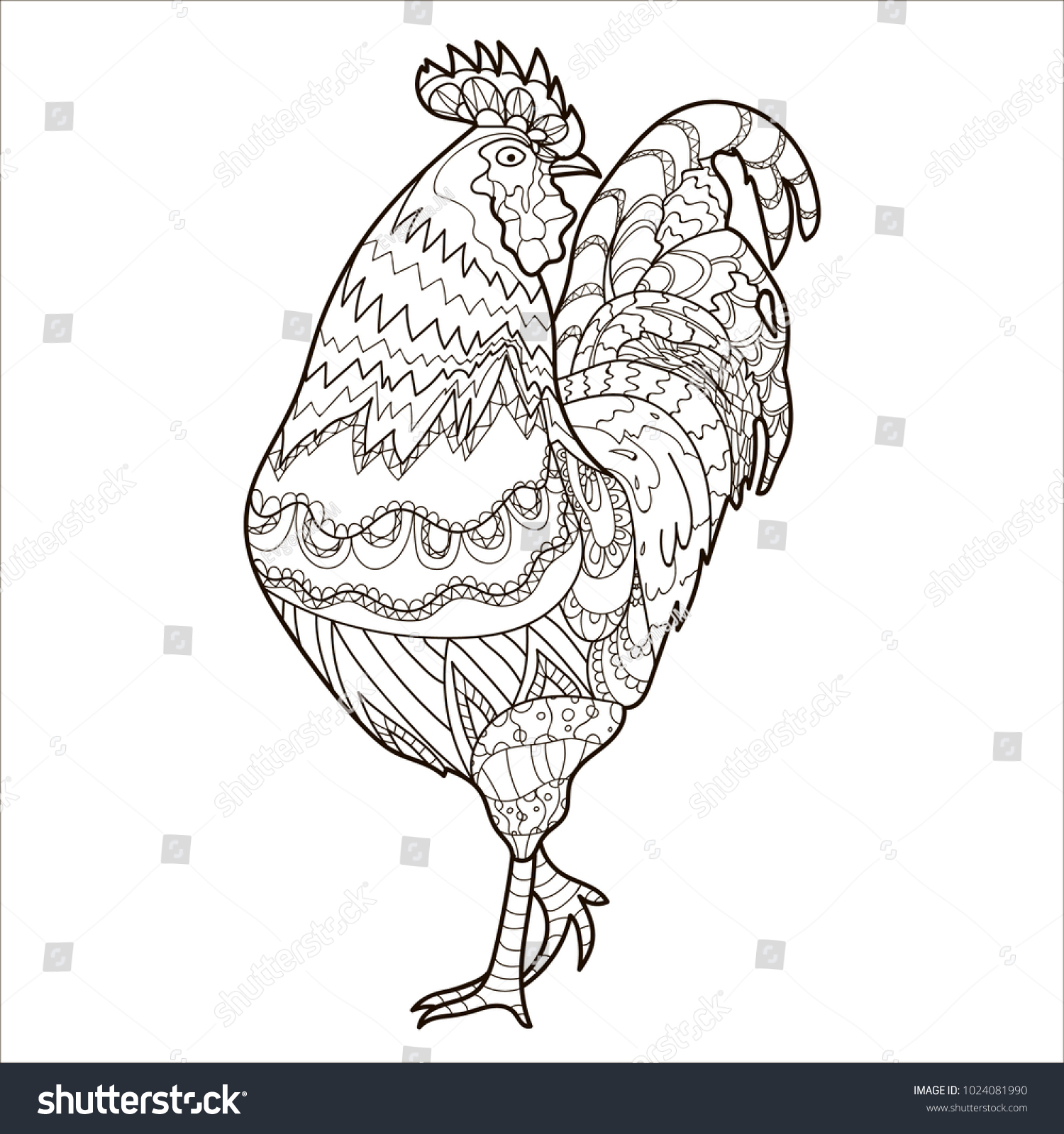 Coloring Book Page Chicken Pattern Stock Illustration 1024081990