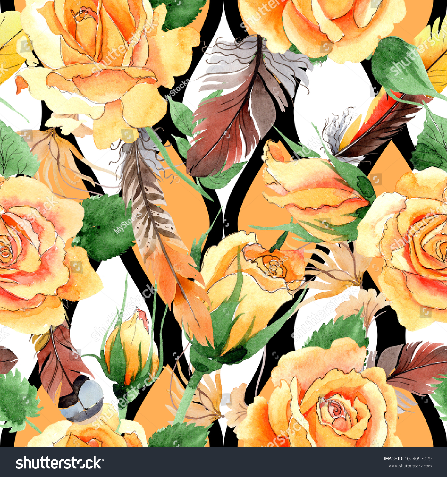 Wildflower Yellow Teahybrid Roses Flower Pattern Stock Illustration
