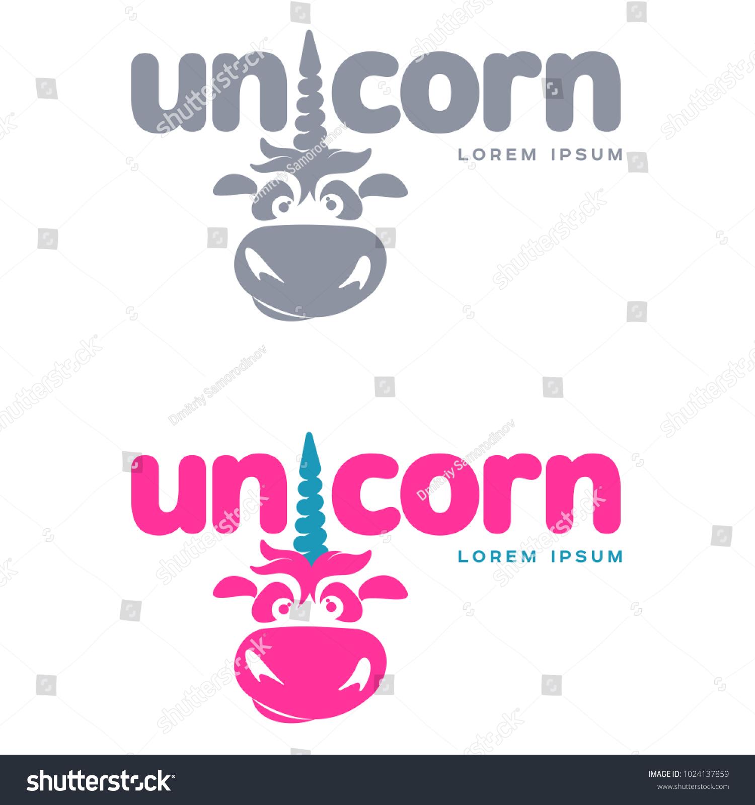 funny unicorn face set graphic logo stock vector royalty free