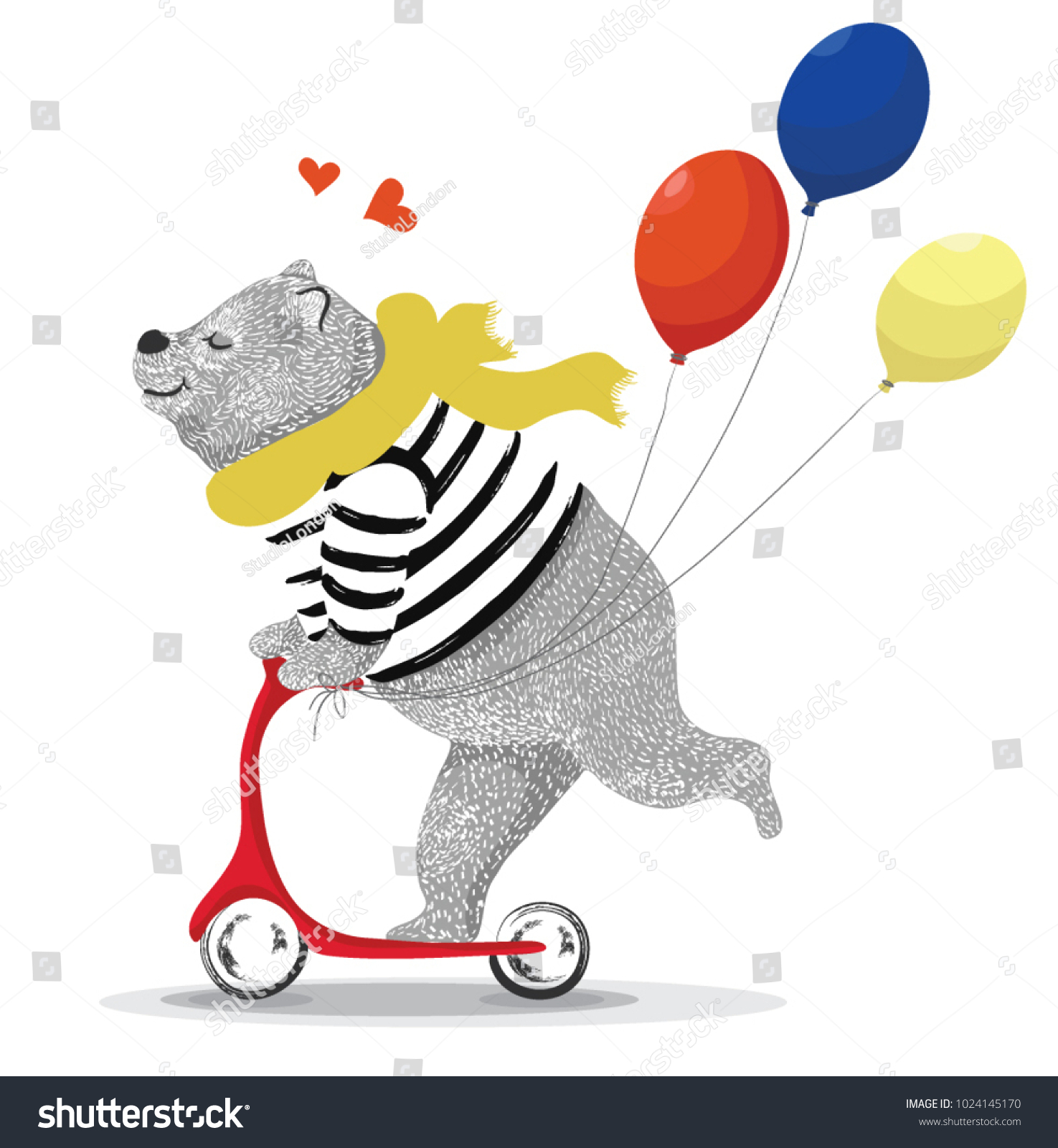 Immagine Vettoriale A Tema Cute Bear Illustration Tshirt Graphics