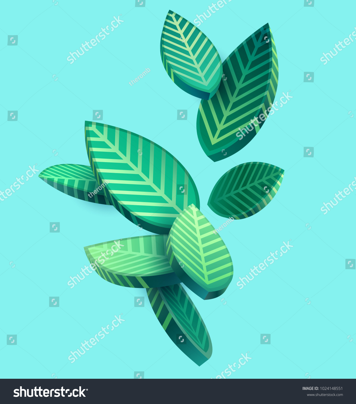 Composition of 3D stylized leaves  #1024148551