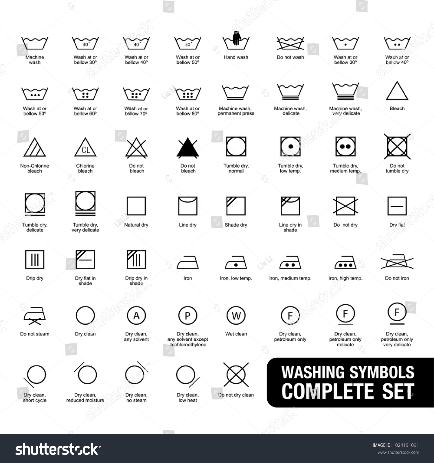 Complete set laundry symbols stock vector 1024191091 shutterstock complete set of laundry symbols biocorpaavc Choice Image