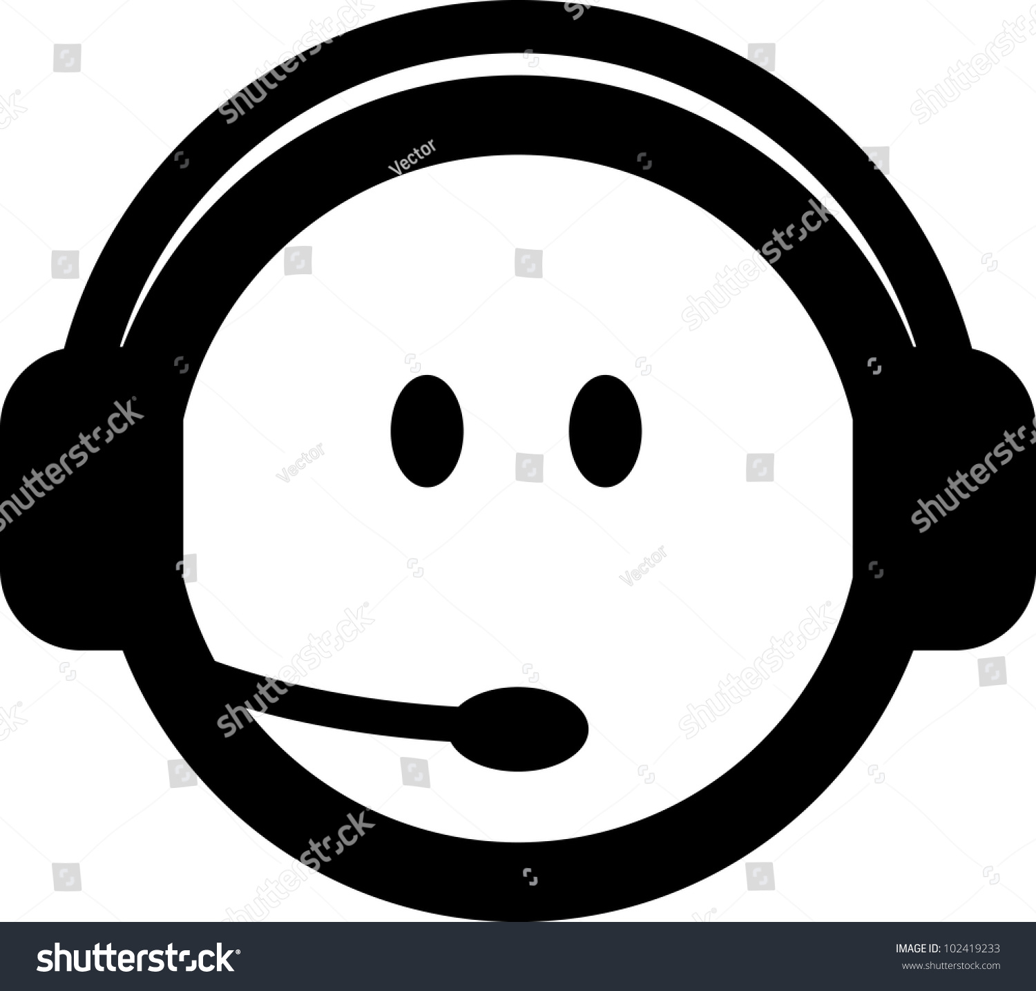 Vector Customer Service Consultant Headset Icon Stock Vector ...