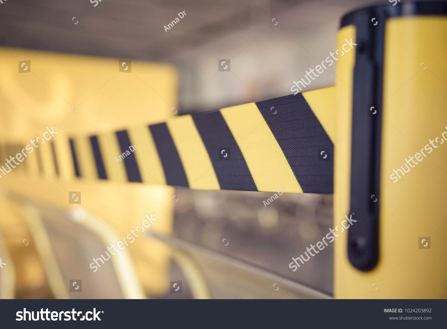 Barrier tape for no entry. Restricted area. Black And Yellow Lines. Do Not Cross, Danger, Do Not Enter #1024203892