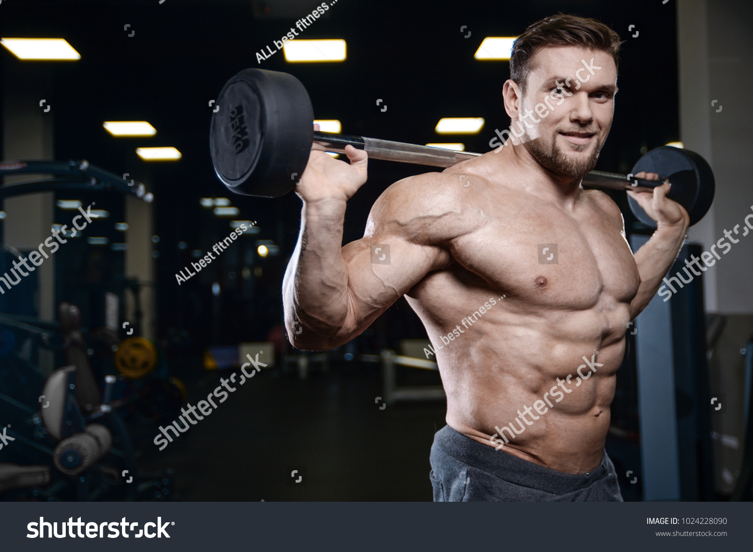 Brutal Sexy Strong Bodybuilder Athletic Fitness Stock Photo