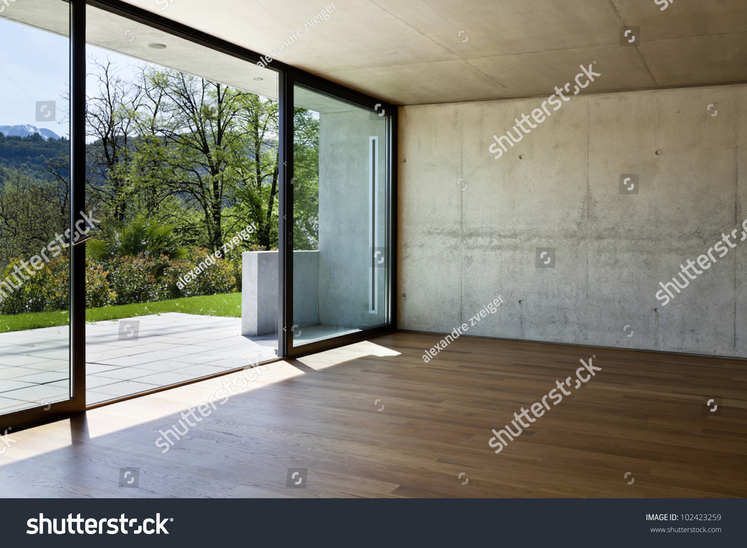 Modern Concrete House With Hardwood Floor Large Window