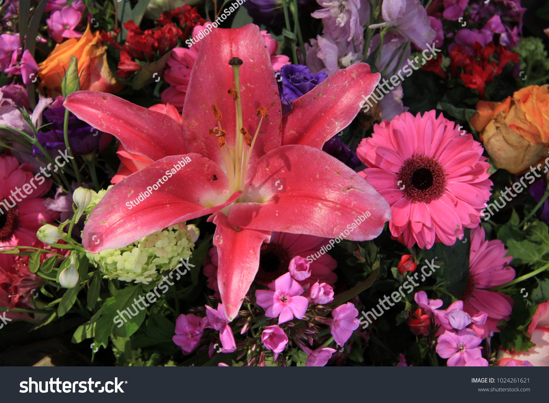 Mixed Pink Flower Arrangement Various Flowers Stock Photo 100