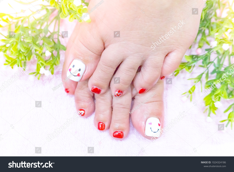 Charming Cute Red White Toenail Art Stock Photo Edit Now