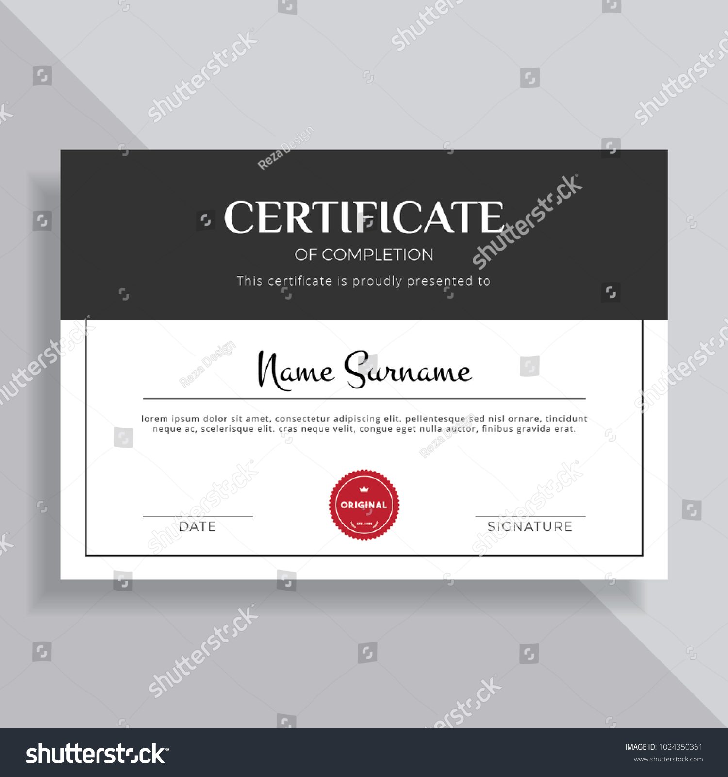 Unique Creative Professional Certificate Template Design Stock ...