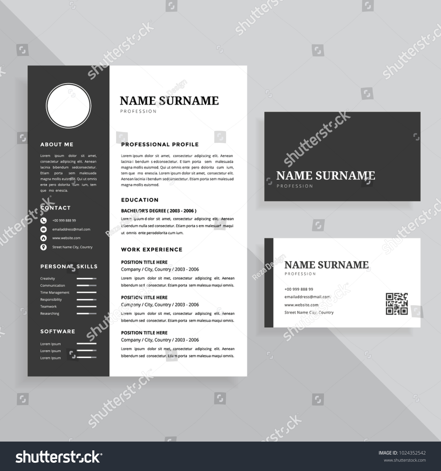 Professional Resume Cv Business Card Template Stock Vector ...