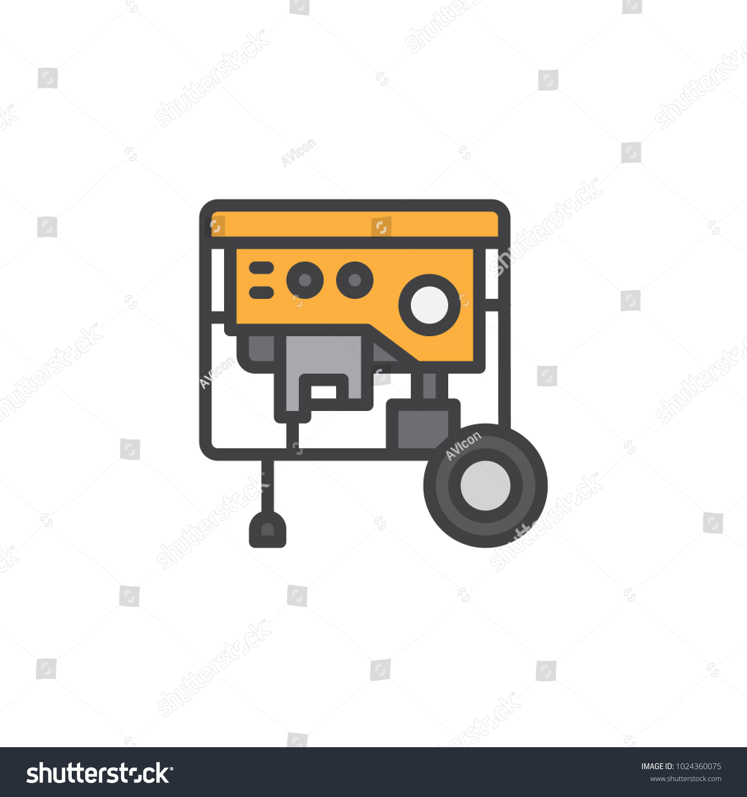 Portable Power Generator Filled Outline Icon Stock Vector 1024360075 ...