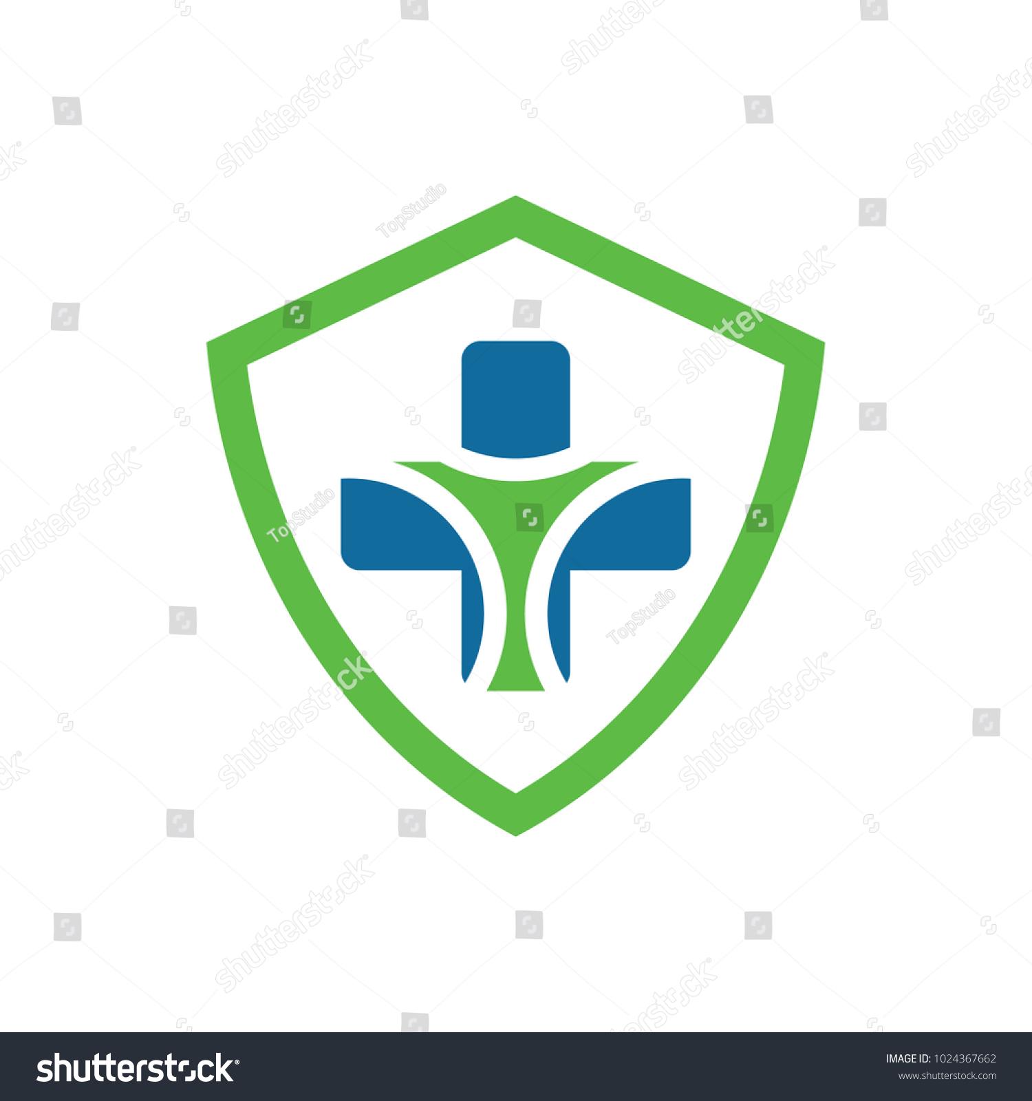 Shield Health Logo Design Template Stock Vector Royalty Free