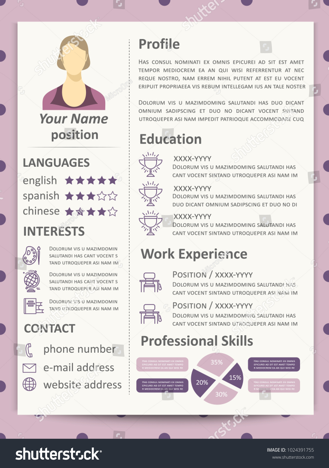 Cute Elegance Female Resume Template Infographics Stock ...
