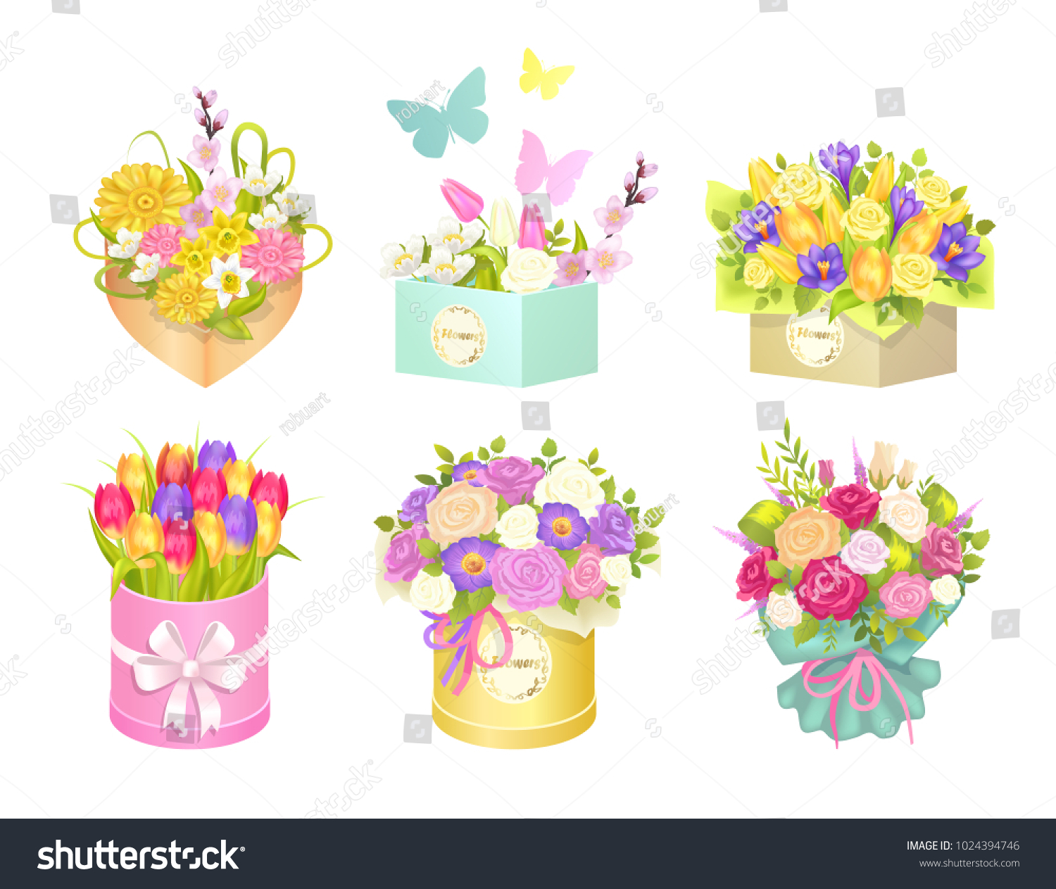 Boxes Bouquets Butterflies Flying Rounded Squared Stock Vector