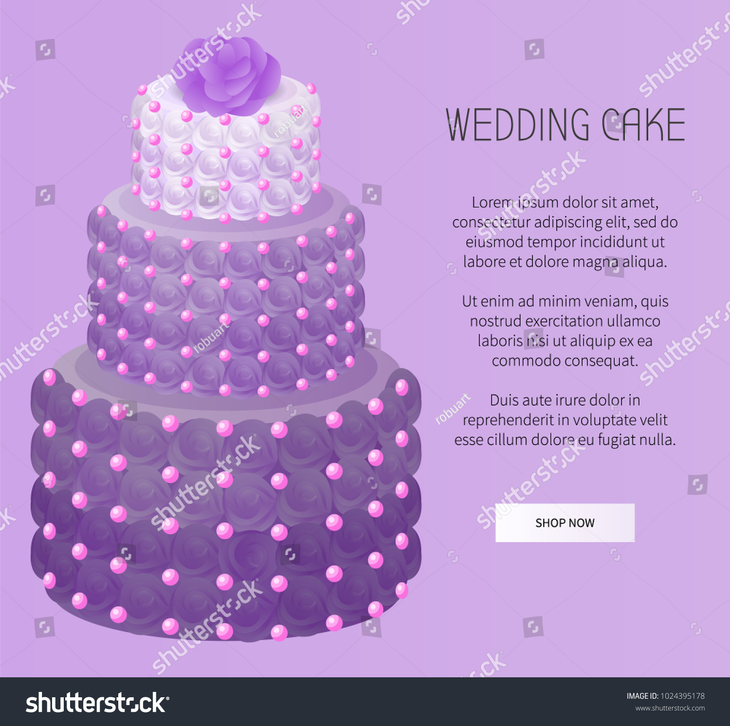 Wedding Cake Purple Color Roses Decoration Stock Vector 1024395178