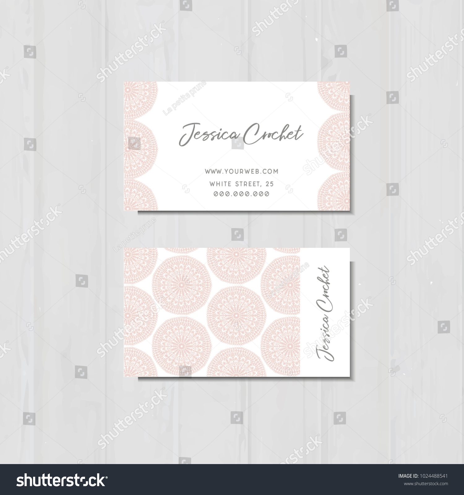 Business Card Pink Laces Handmade Crochet Stock Vector Royalty Free
