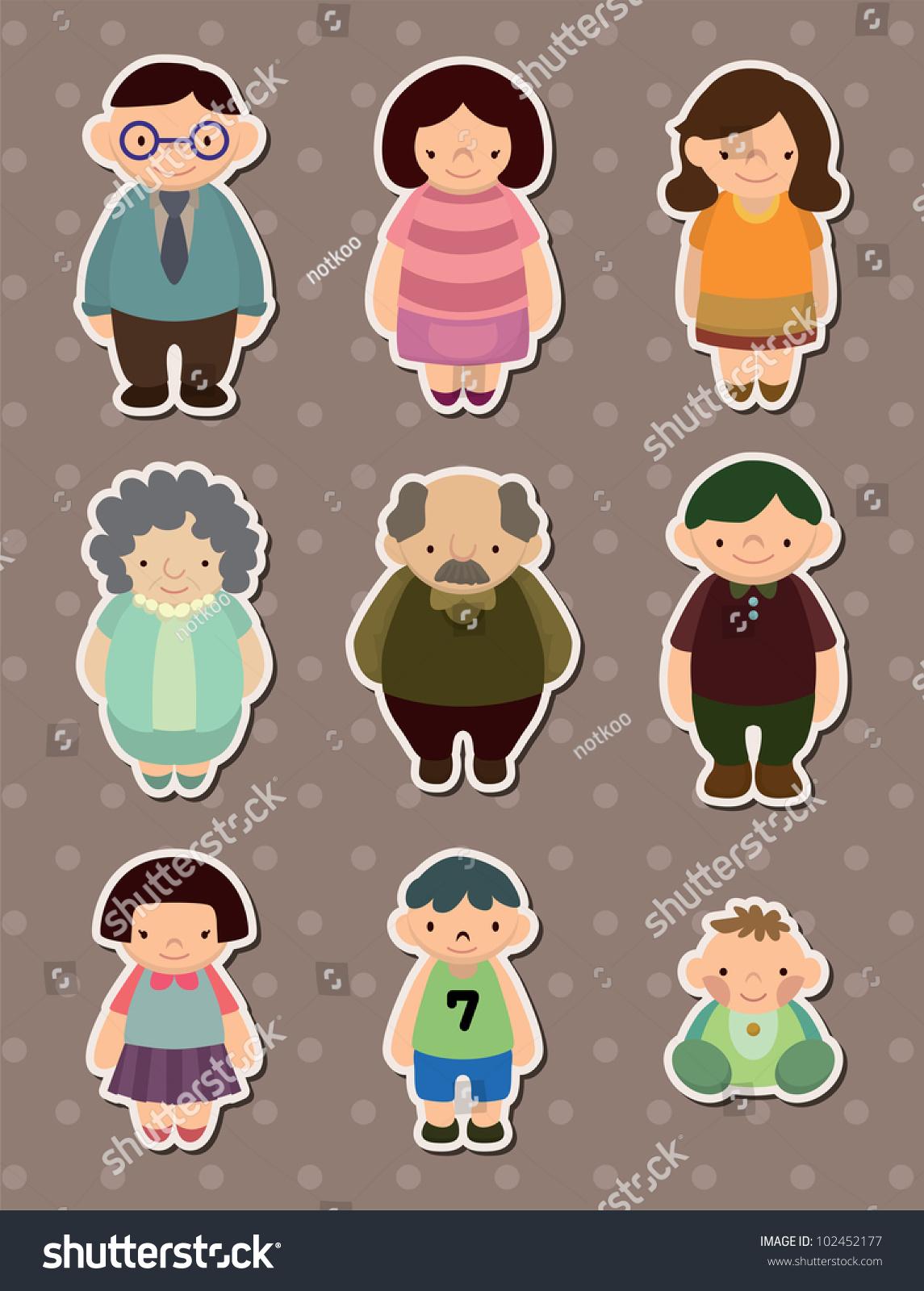 Family Stickers Stock Vector 102452177 - Shutterstock