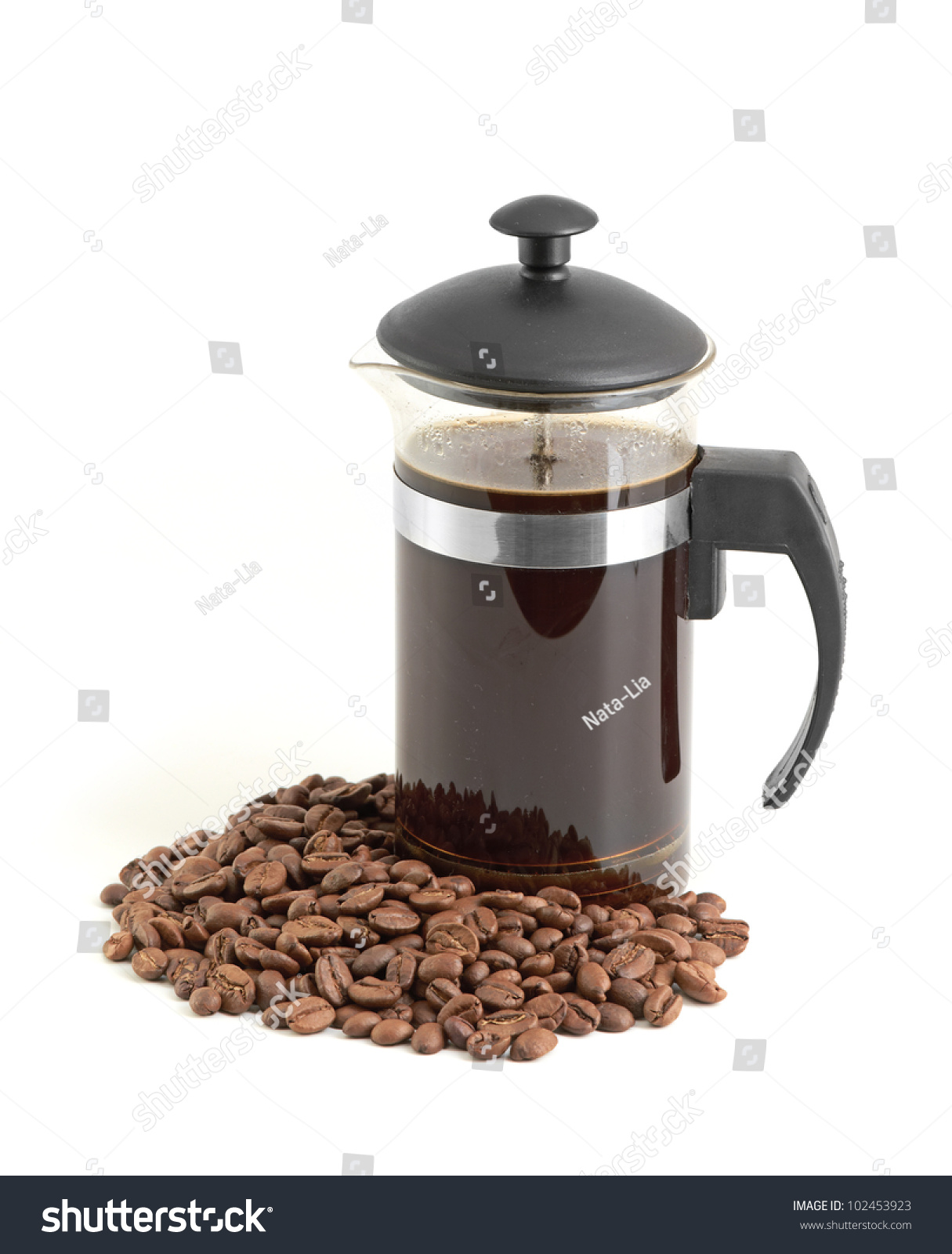 White French Press Coffee Maker : French Press Coffee Maker On White Background With Reflection Stock Photo 102453923 : Shutterstock