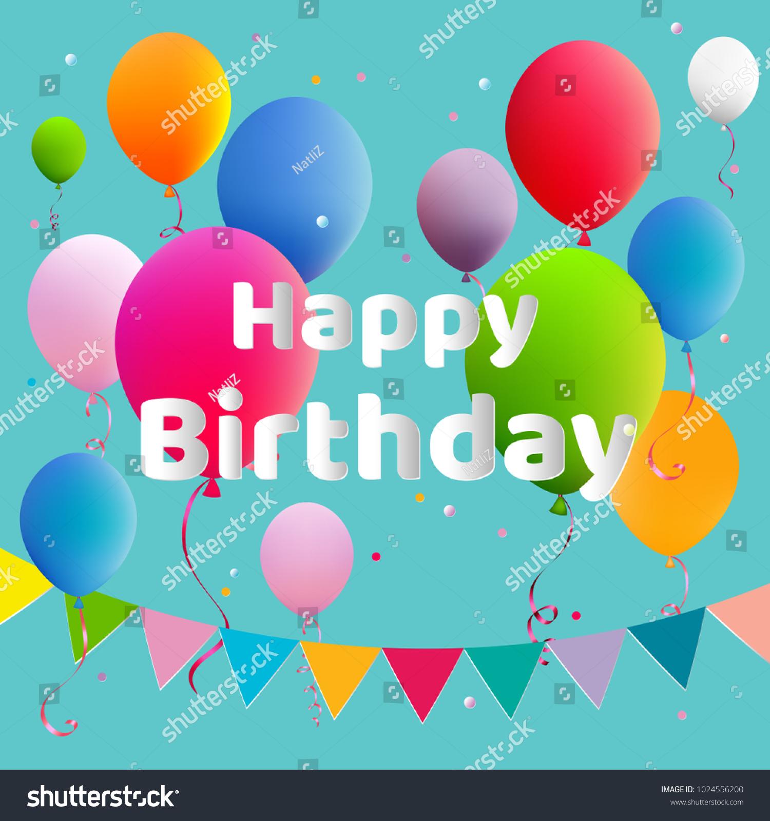Happy Birthday Balloons Anniversary Decoration Celebration Vector Illustration