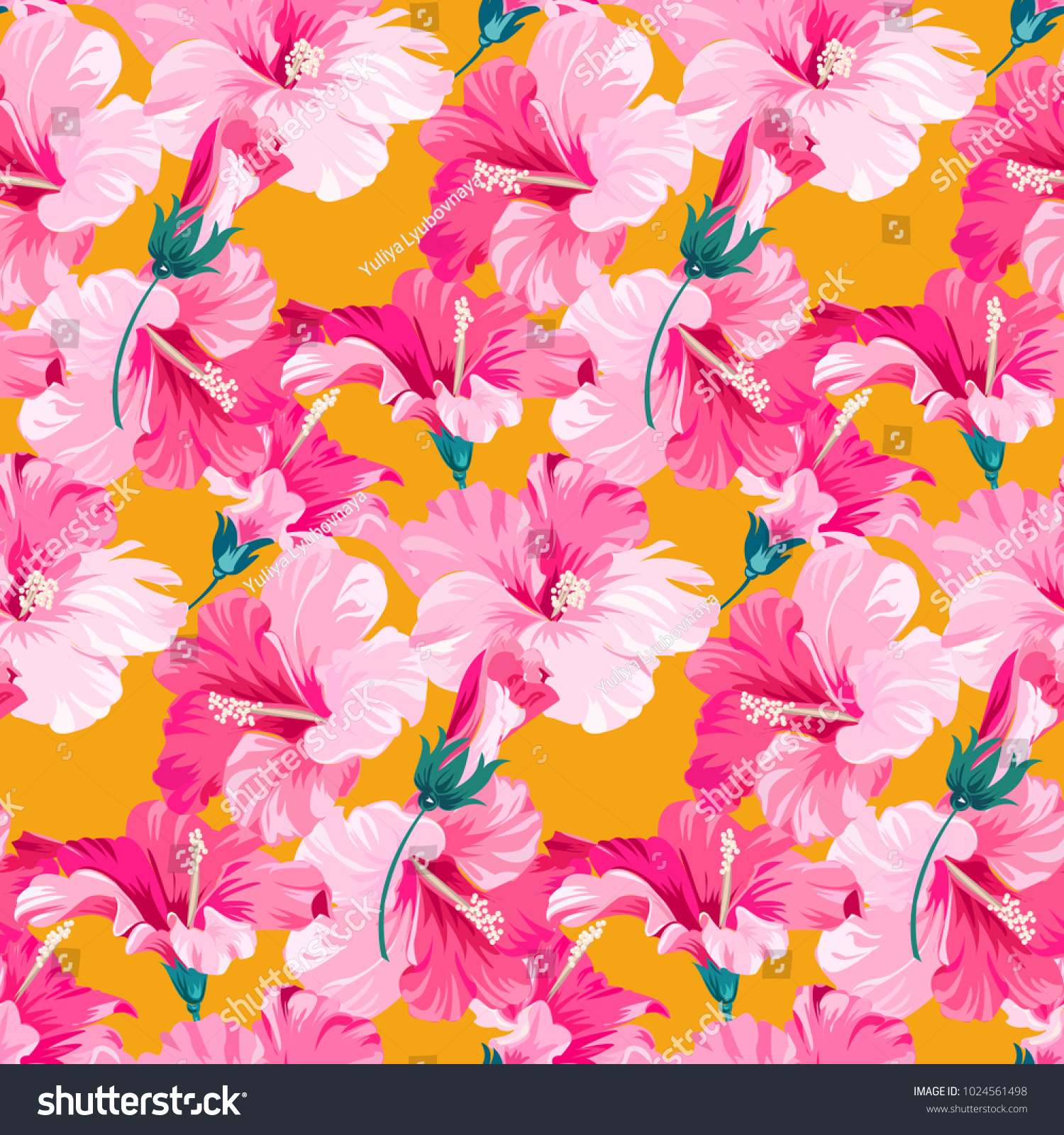 Seamless Pattern Tropical Pink Flowers Background Stock Vector