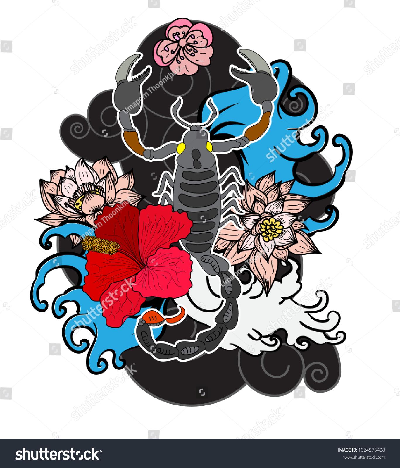 Scorpion Tattoo Flower Japanese Style Design Print Stock Vector