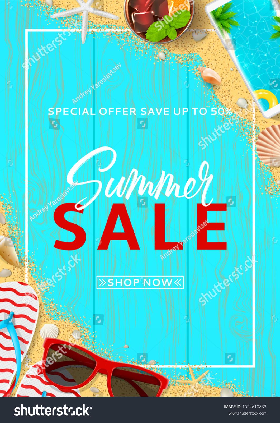 promo flyer summer sale top view のベクター画像素材 ロイヤリティ