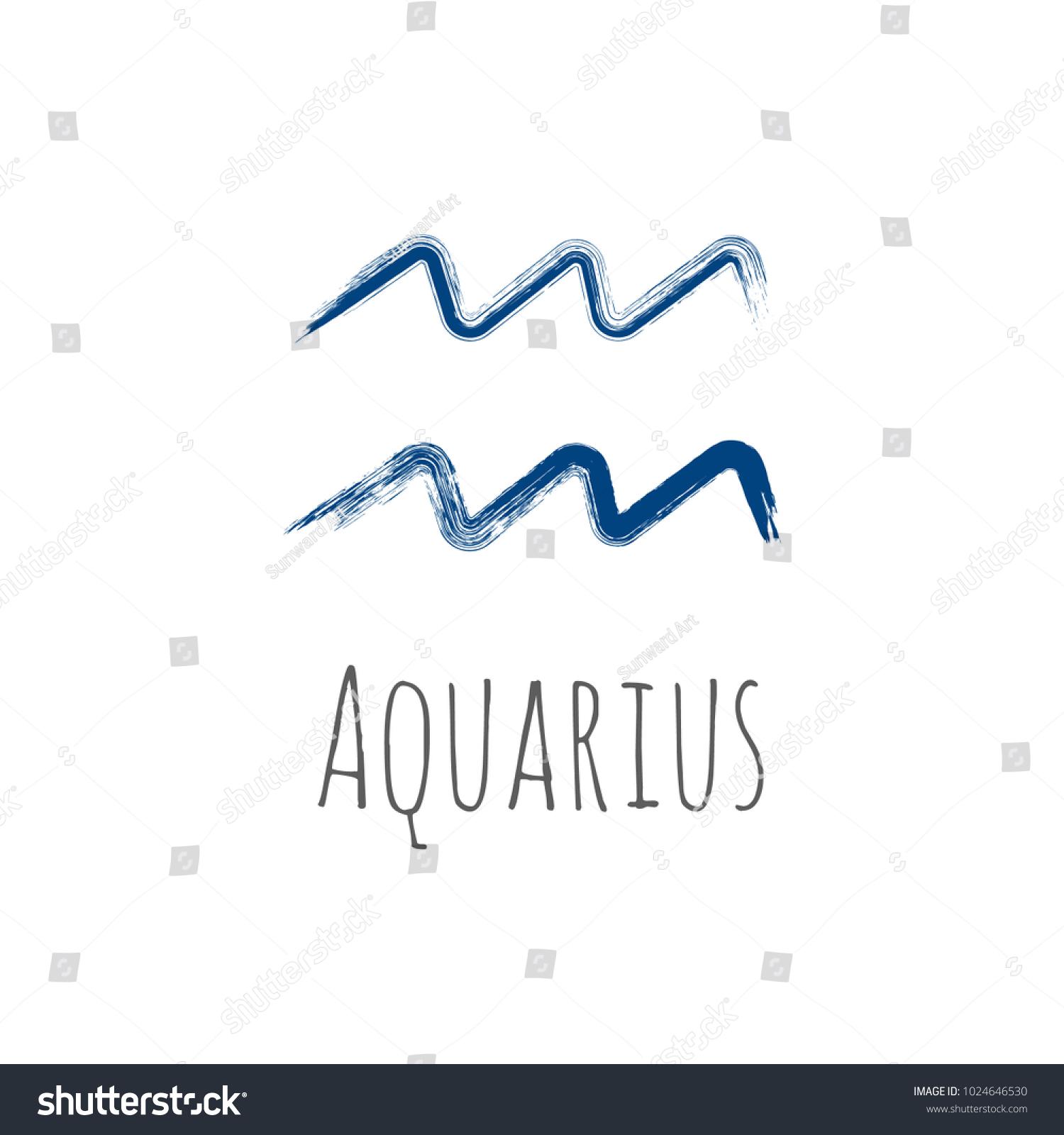 Blue Ink Aquarius Zodiac Sign Hand Stock Vector 1024646530
