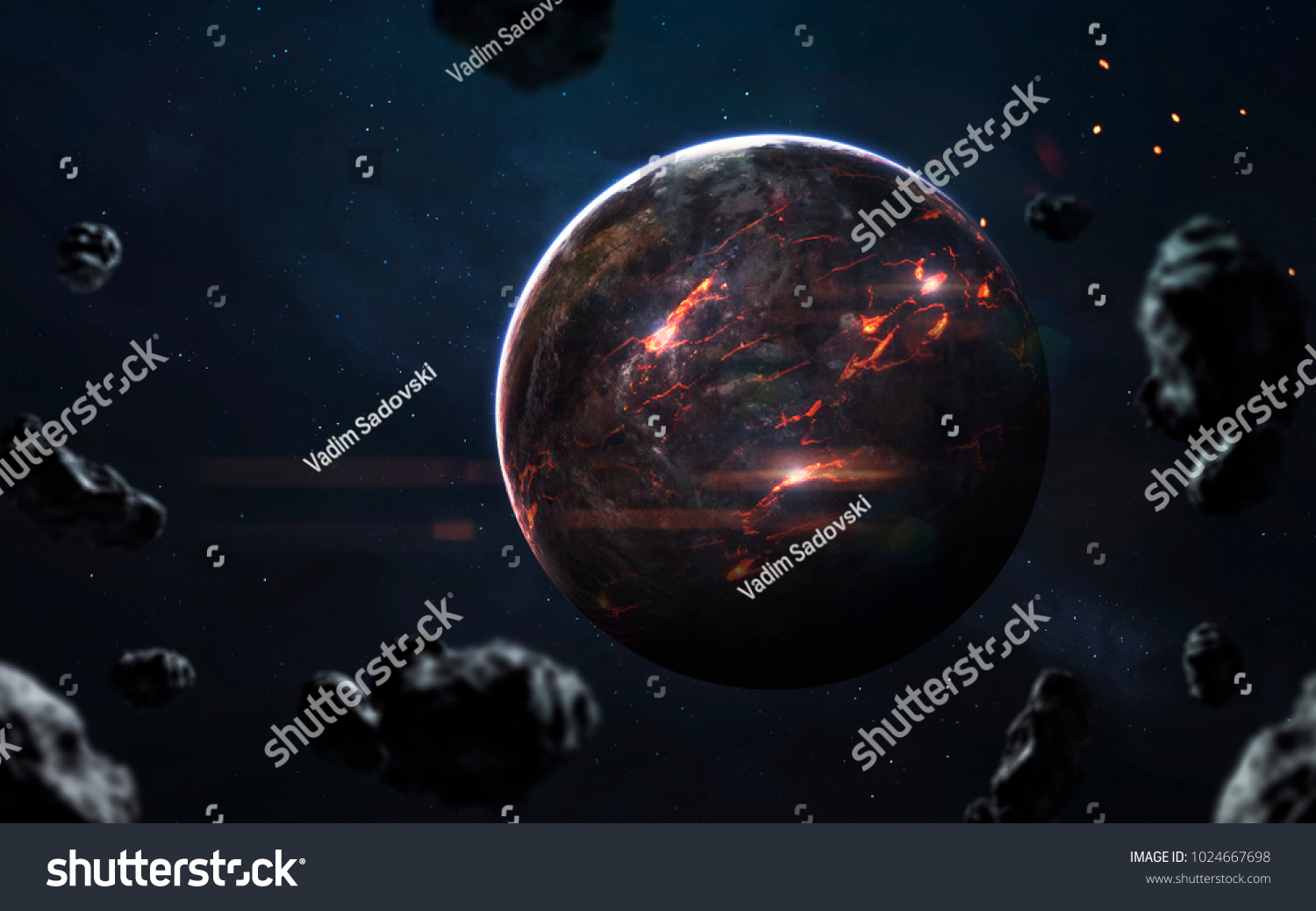 molten planet beautiful science fiction wallpaper stock photo (edit