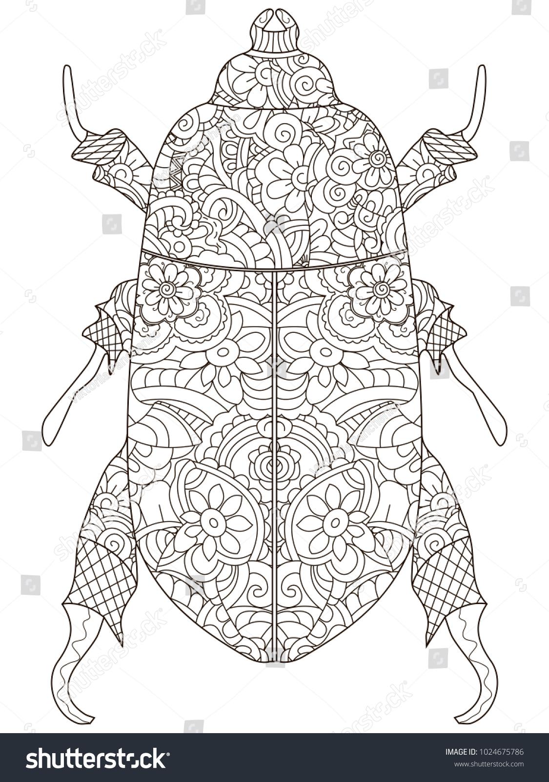 Darkling Beetle Anti Stress Coloring Book Stock Illustration 1024675786