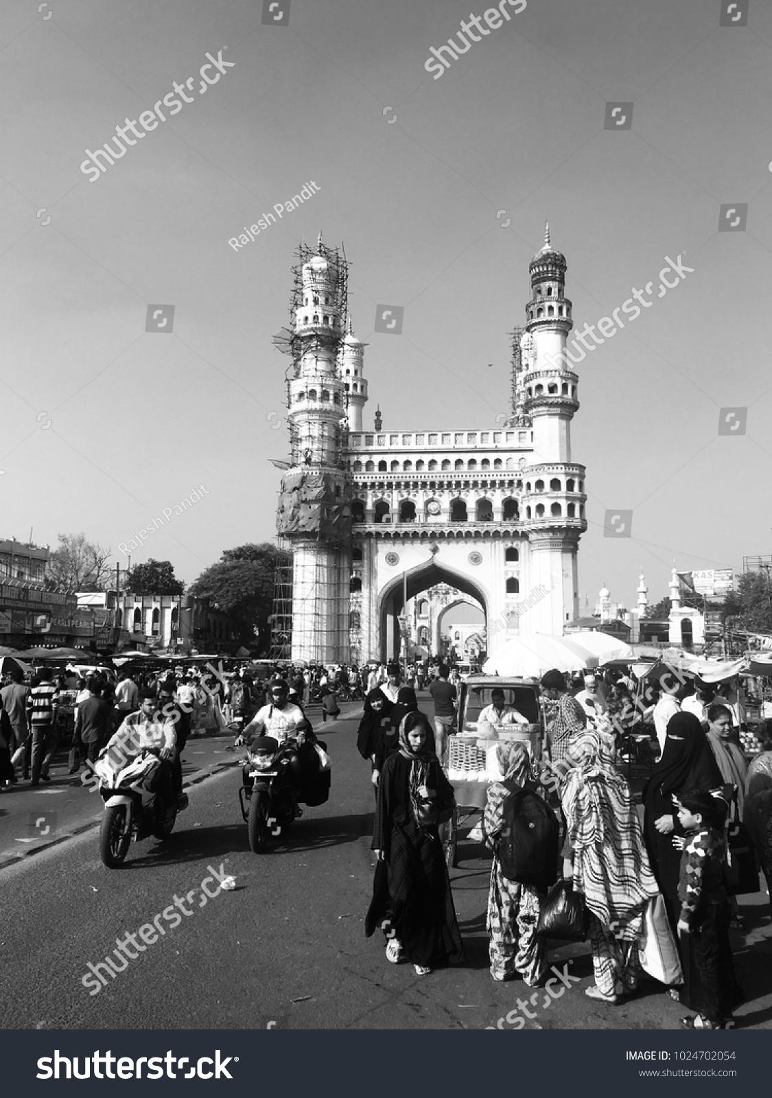 Hyderabad India 11022017 Charminar Old Hyderabad Stock Photo