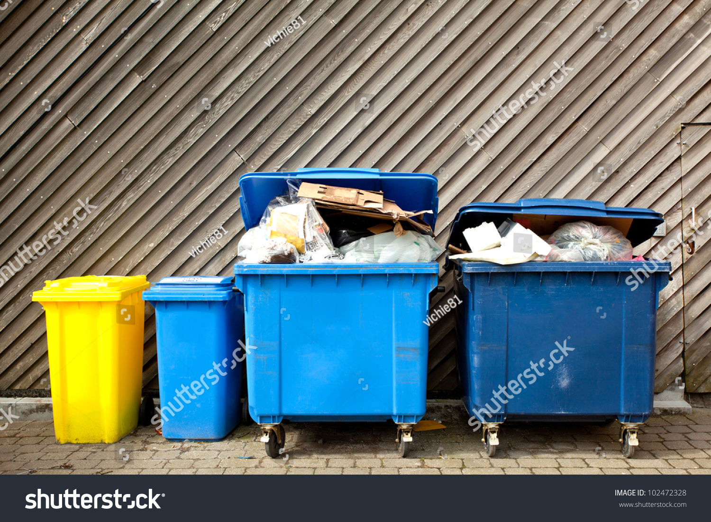 Overfilled Trash Large Wheelie Bins Rubbish Stock Photo