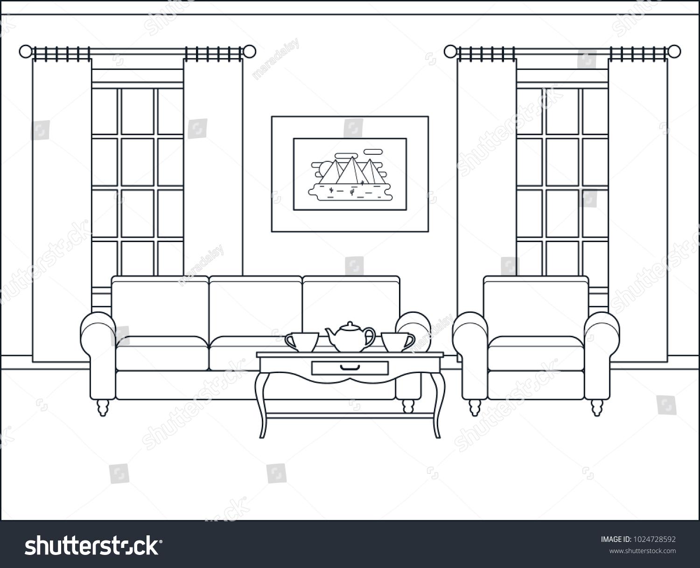 Room Interior Home Flat Design Furniture Stock Vector (2018 ...